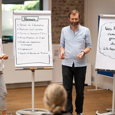 Moderation für Scrum Master – die Trainer Alexandra Klingor und Alexander Kylburg im Dialog mit den Teilnehmer/innen